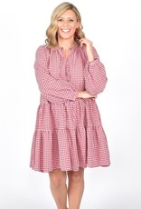Angie Long Sleeve Check Dress Red (N)