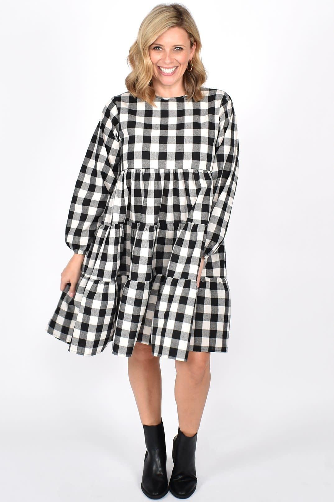 Piper Long Sleeve Dress Large Black Check (N)