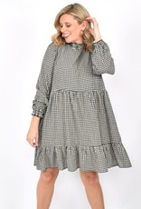Lucy Rouched Dress Black Check (N)