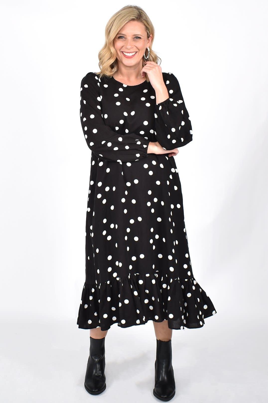 Harley Spot Midi Dress Black Spot (N)