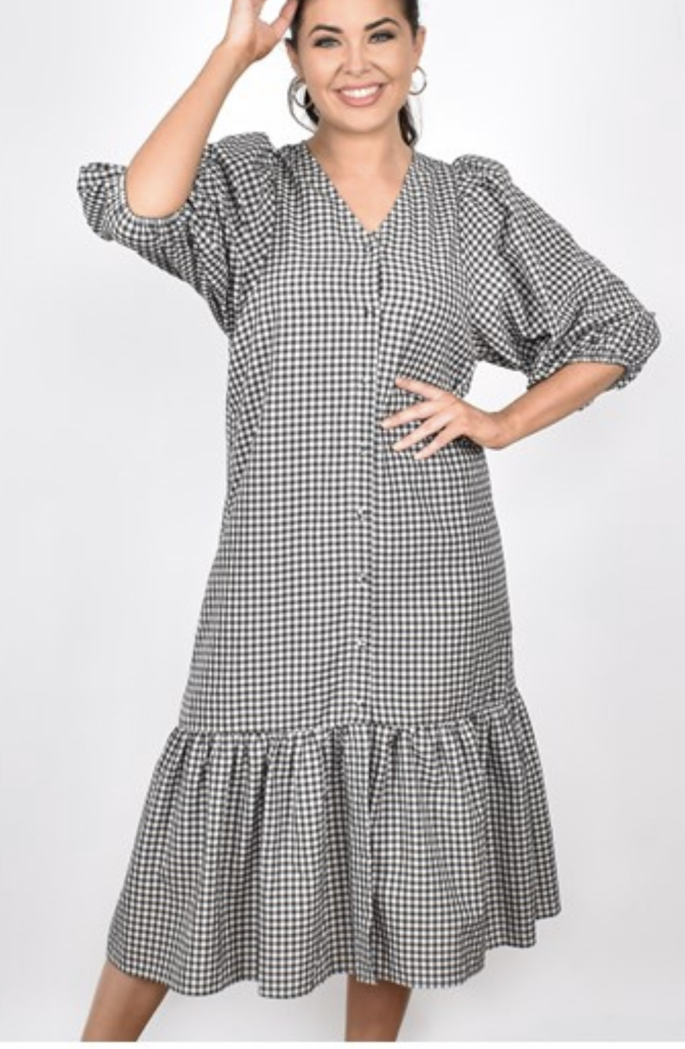 Gracie Long sleeved check dress (K)