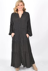 Maisie Long Sleeve Tiered Spot Dress (N)