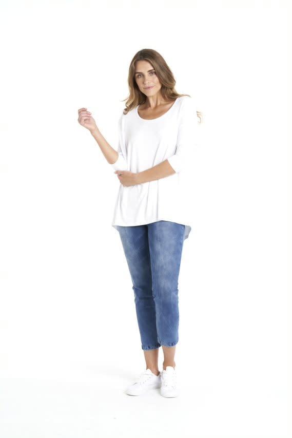 Betty Basics Milan 3/4 Sleeve Top White (O)