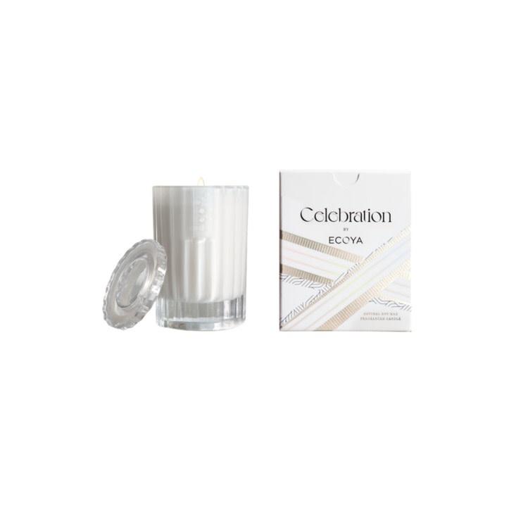 Ecoya White Musk & Warm Vanilla mini celebration candle