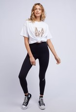 All About Eve Leopard Panelled Tee White (K)