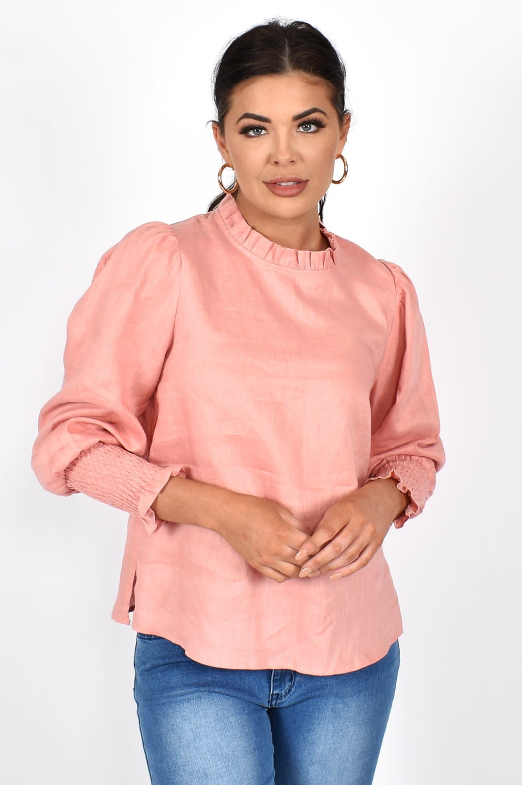 Olivia Rouched Linen Top