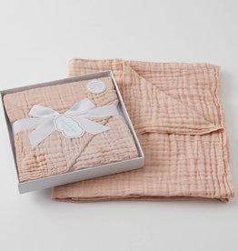 Pilbeam Living Muslin Cotton Blanket Peach Boxed