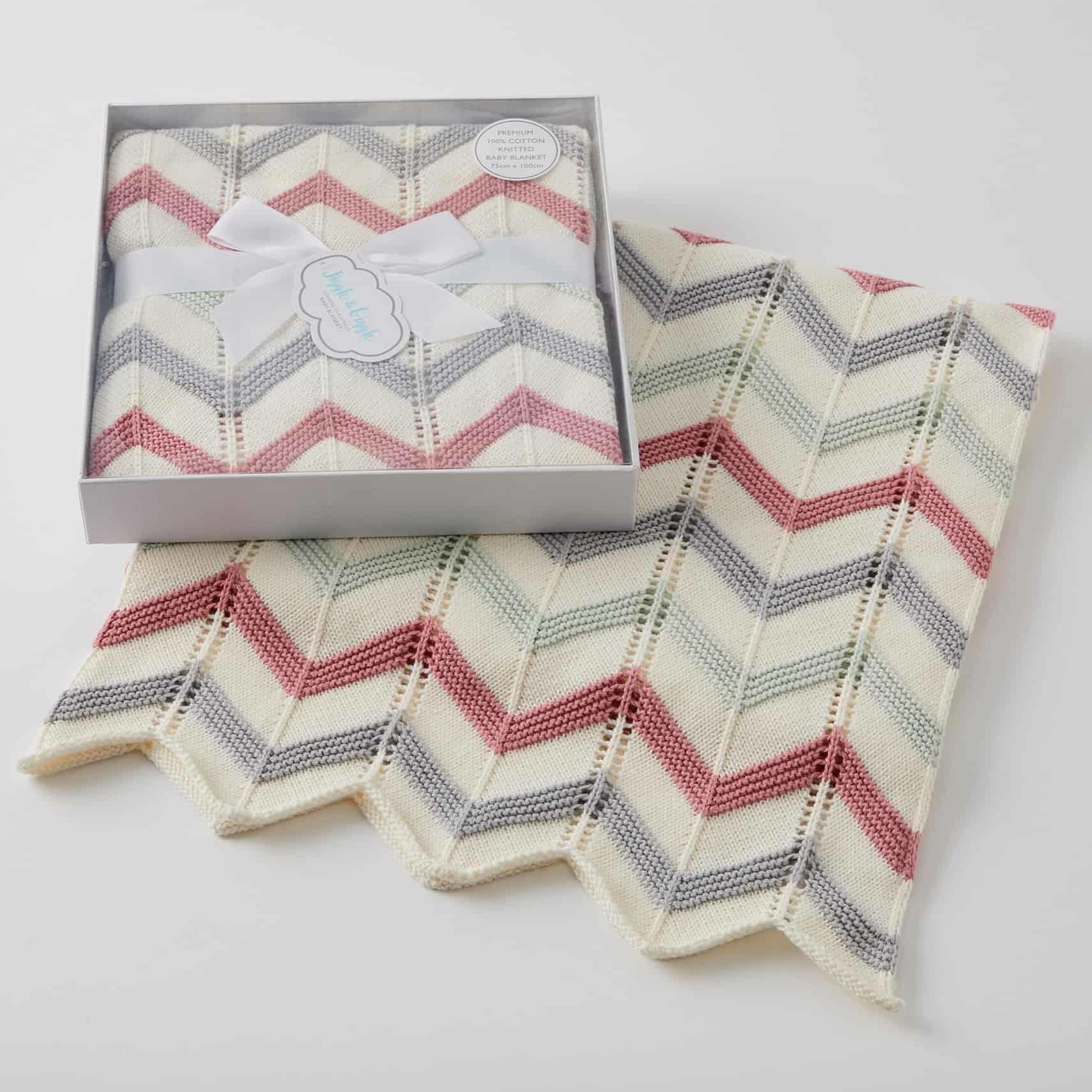 Pilbeam Living Blush Zig Zag Knitted Blanket