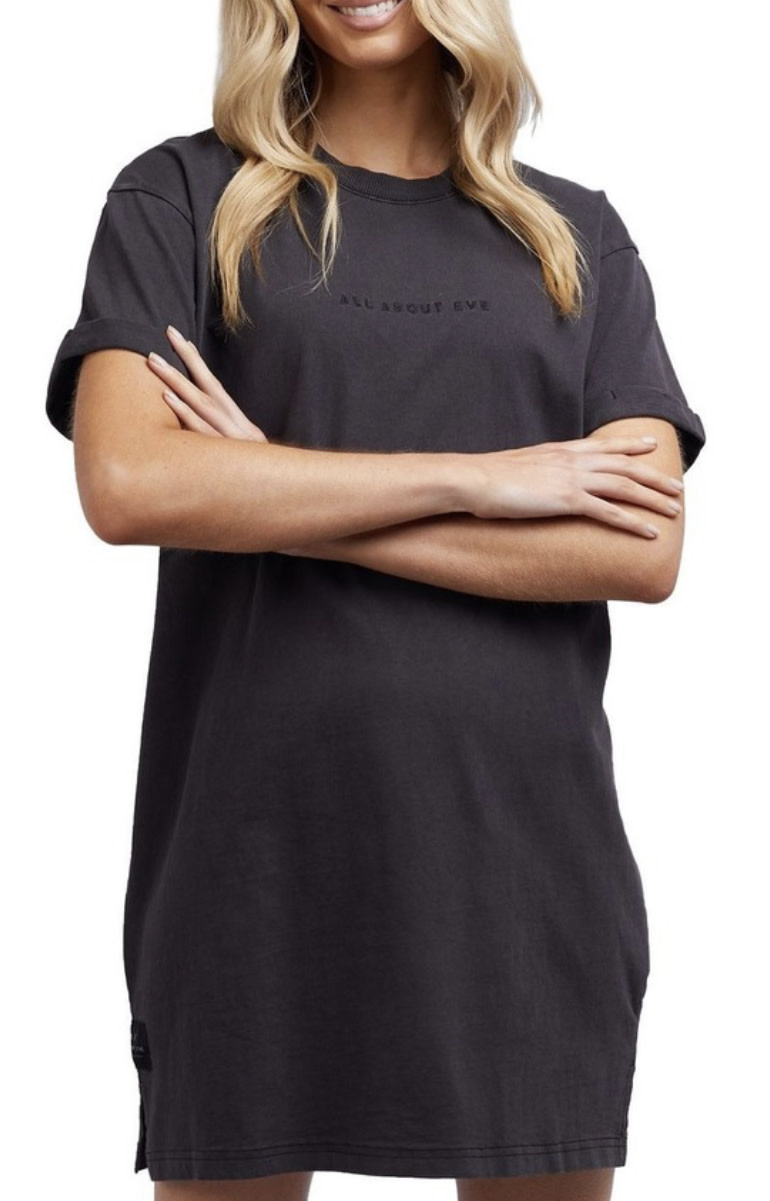 All About Eve Washed Tee Dress - Washed Black (K)