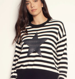 The Others The Star Knit - Bone & Black Stripe w/ Sequin Star