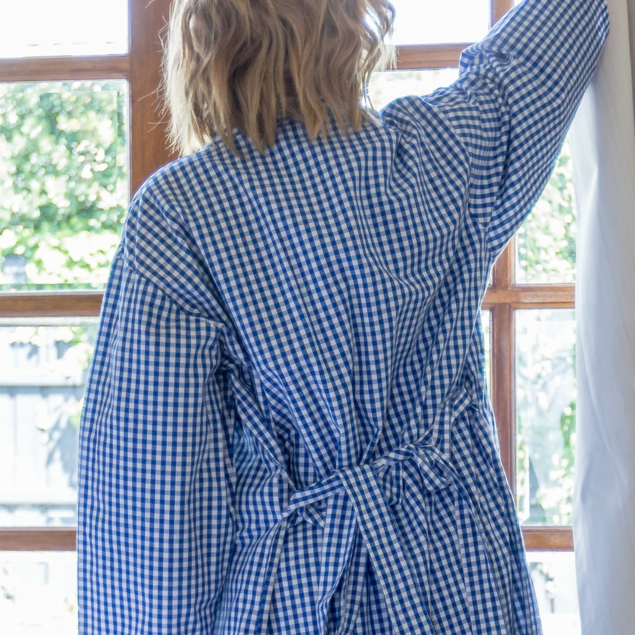 Linens Unlimited Blue Check Dressing Gown