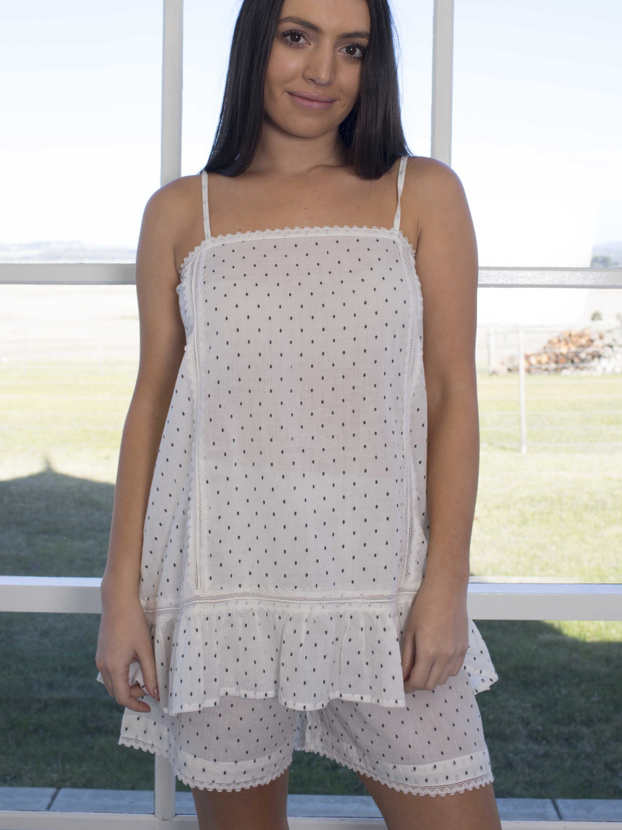 Linens Unlimited Swiss Dots Cami & Short Set with Lace