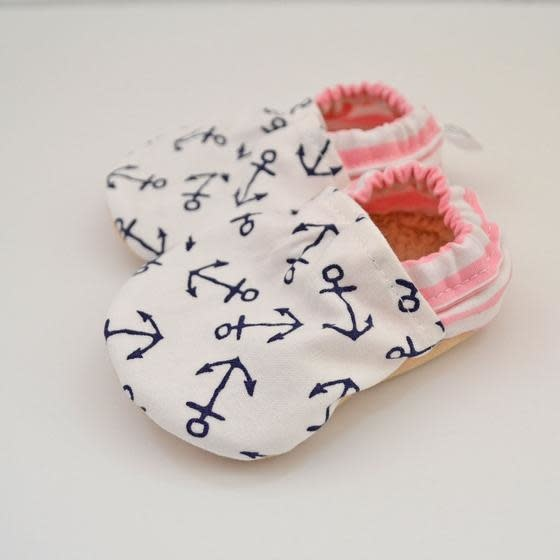 Baby Booties Pink Anchors 3-6 Months