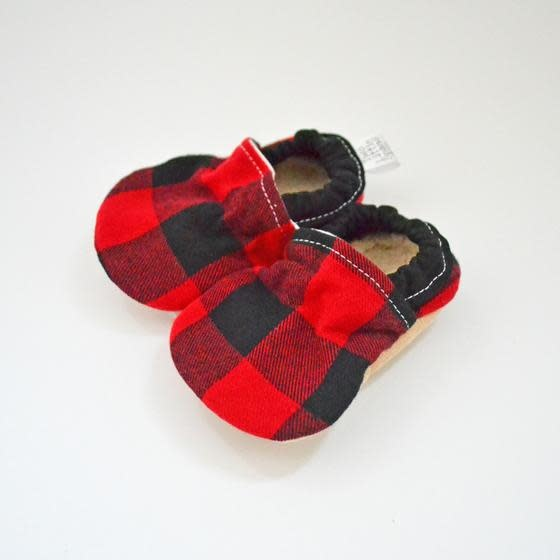 Baby Booties Buffalo Plaid 0-3 Months