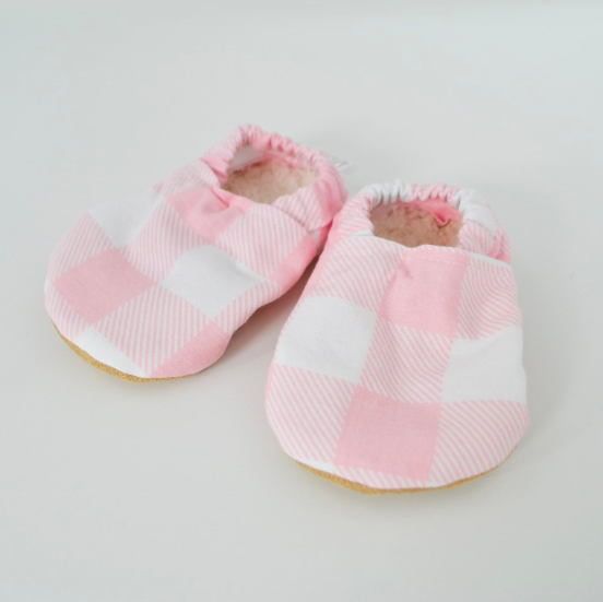 Baby Booties Pink Gingham 3-6 Months