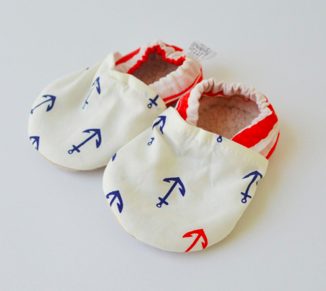 Baby Booties Organic Anchors 3-6 Months