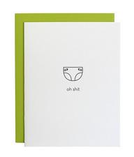 Chez Gagne Oh Shit Diaper Letterpress Card
