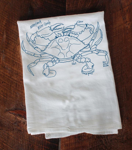 Girls Can Tell Maryland Blue Crab Tea Towel