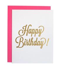Chez Gagne Happy Birthday Script Foil Card