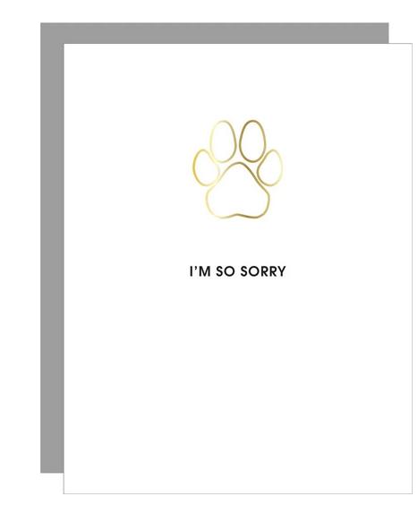 Chez Gagne I'm So Sorry Pawprint Paper Clip Card