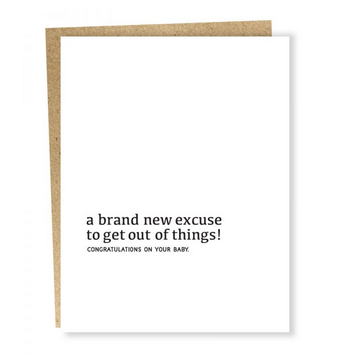 Sapling Press Well Wishes: New Excuse Card