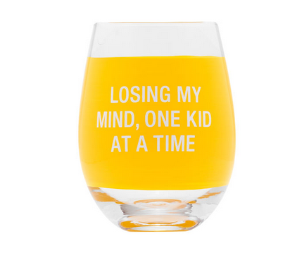 About Face Designs Losing My Mind Wine Glass
