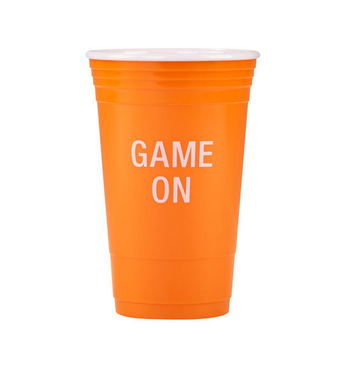 About Face Designs Game On Party Cup Orange