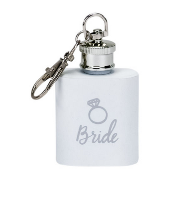 About Face Designs Bride Key Ring Flask