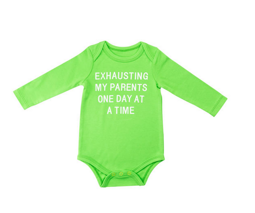 About Face Designs Exhausting L/S Onesie 3-6 Months