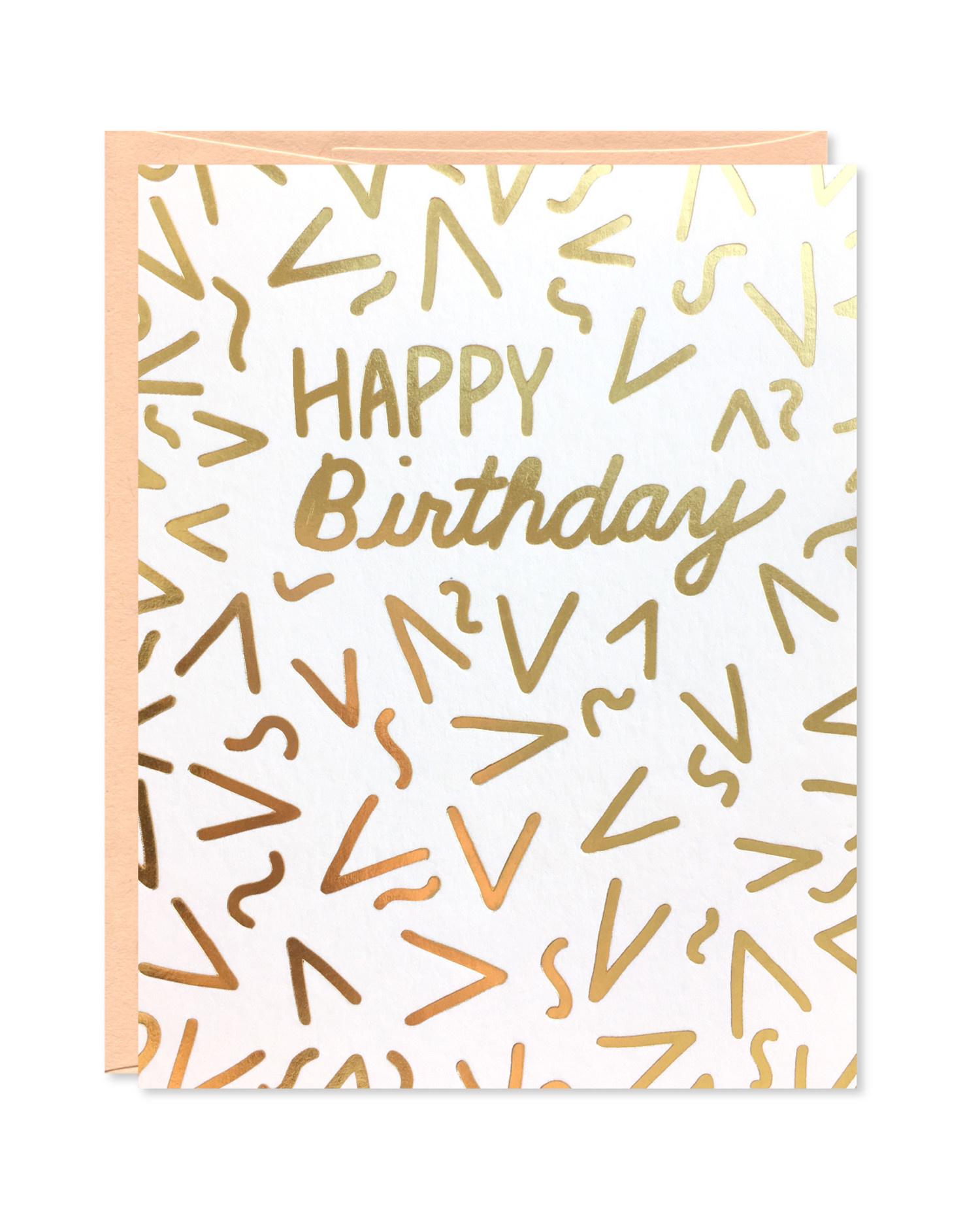 Row House 14 Gold Foil Confetti Birthday Card