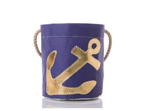 Sea Bags Bucket Bag - Gold Anchor on Navy