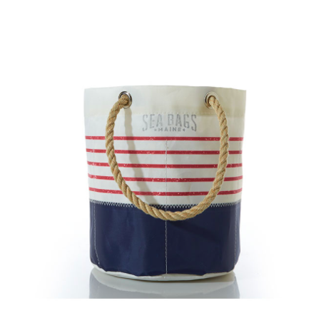 Sea Bags Beverage Bucket Bag - Red Mariner Stripe