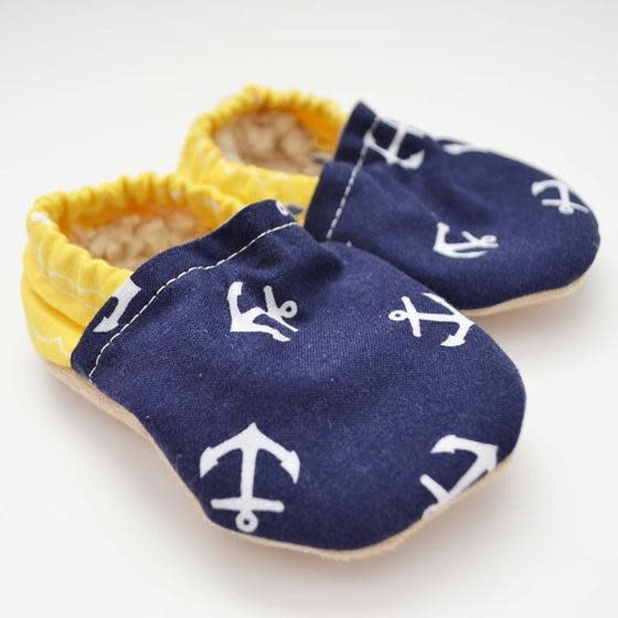Two Little Beans Baby Booties Yellow Anchors 0-3 Months