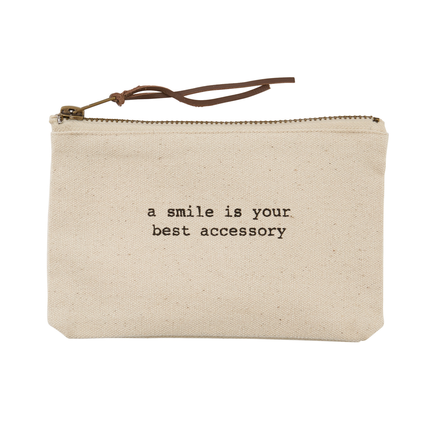 Mud Pie A SMILE CANVAS POUCH