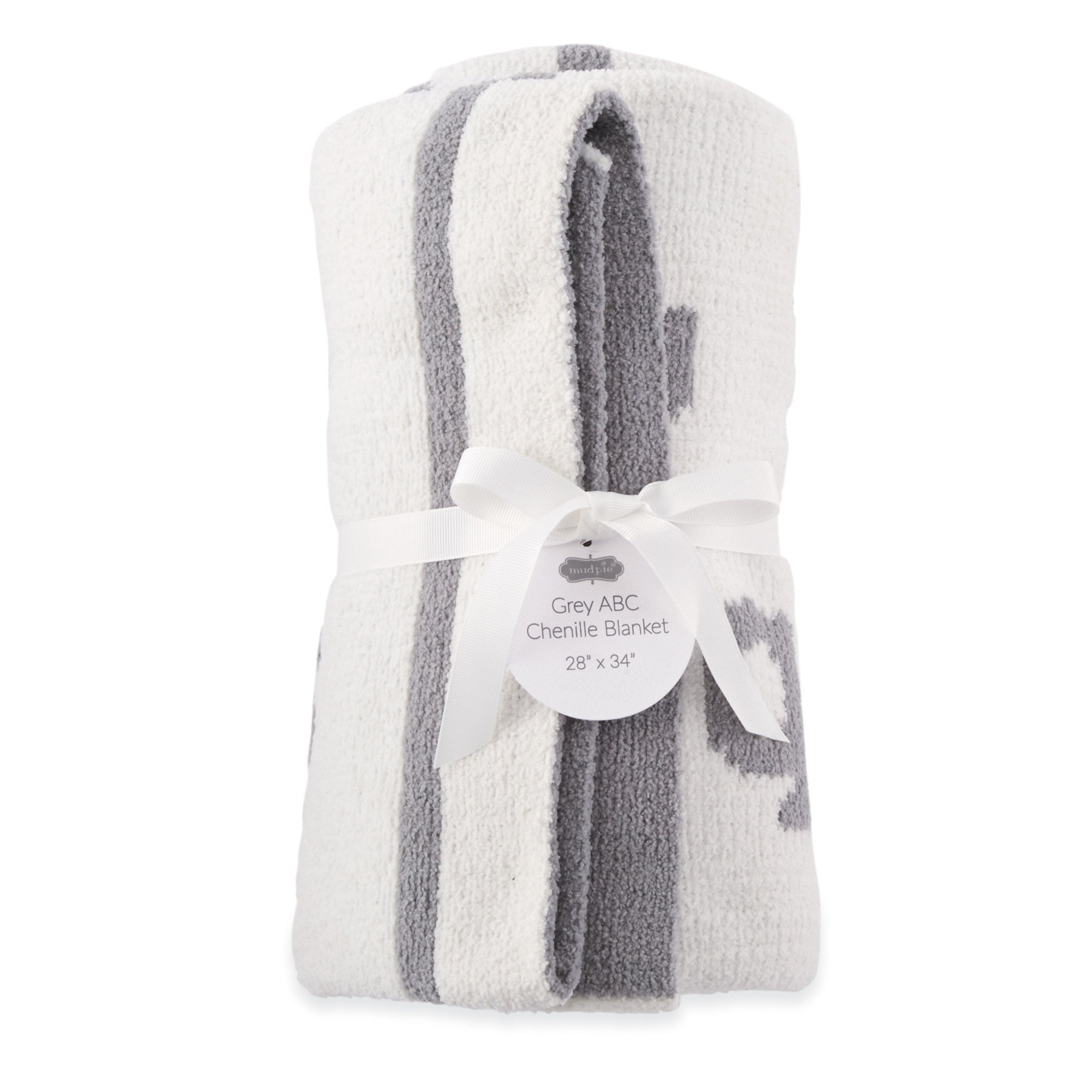 Mud Pie GREY ABC CHENILLE BLANKET