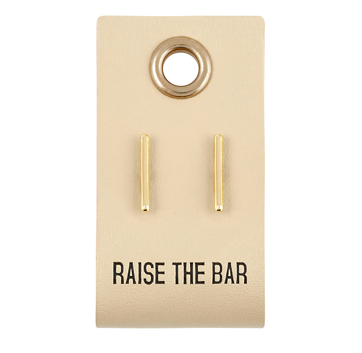 Creative Brands Leather Tag Earrings - Bar