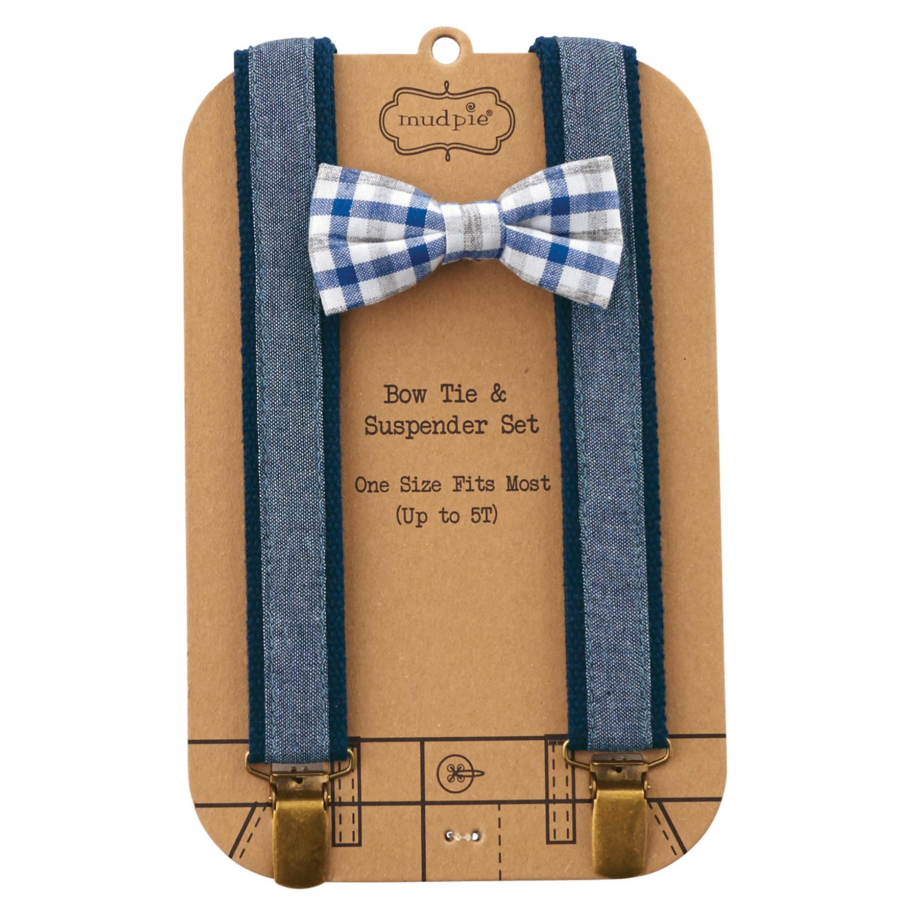 Mud Pie Chambray Bow Tie & Suspender Set