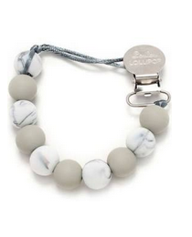 Loulou Lollipop Marble Gray Pacifier Clip