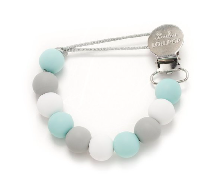 Loulou Lollipop Blue Gray Pacifier Clip