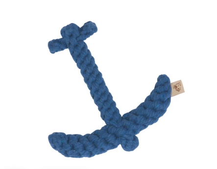 "Jax & Bones Blue Anchor 7"" Rope Dog Toy"