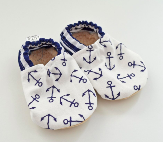 Two Little Beans Navy Anchors Booties