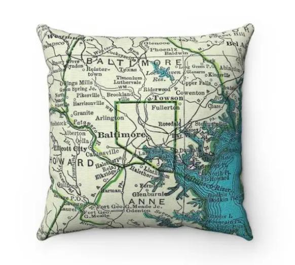 Map Pillow Baltimore