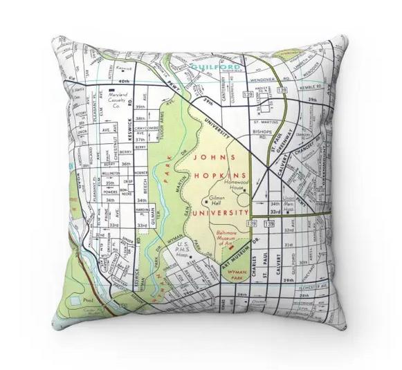 Map Pillow Johns Hopkins
