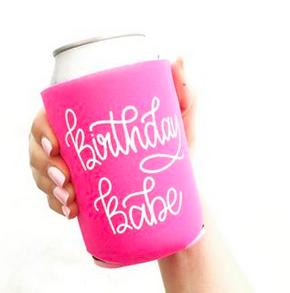 Lizzylovesletters Koozie Pink Birthday Babe