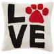 """Peking Handicraft Love Paw Print Hook Pillow 16"""" x 16"""""""