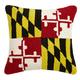 """Peking Handicraft Maryland Flag Hook Pillow 18"""" x 18"""""""