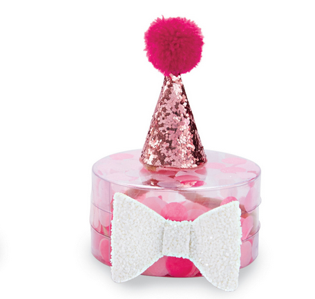 Mud Pie HOT PINK PARTY HAT AND BOW SET