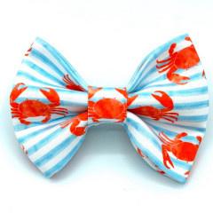Banjo's Bows Crabby Blue Stripes Dog Bow Tie