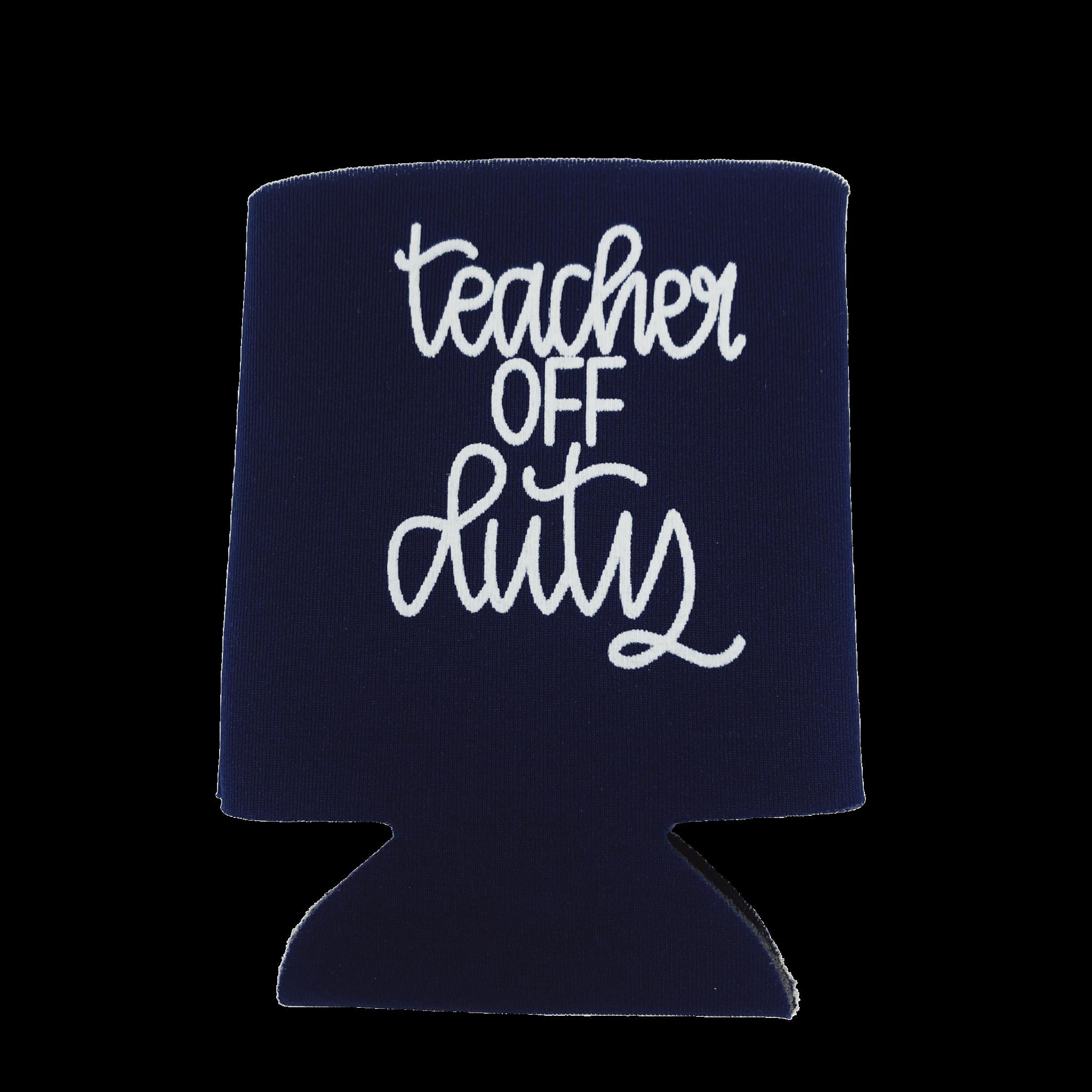 Lizzylovesletters Teacher Koozie Blue