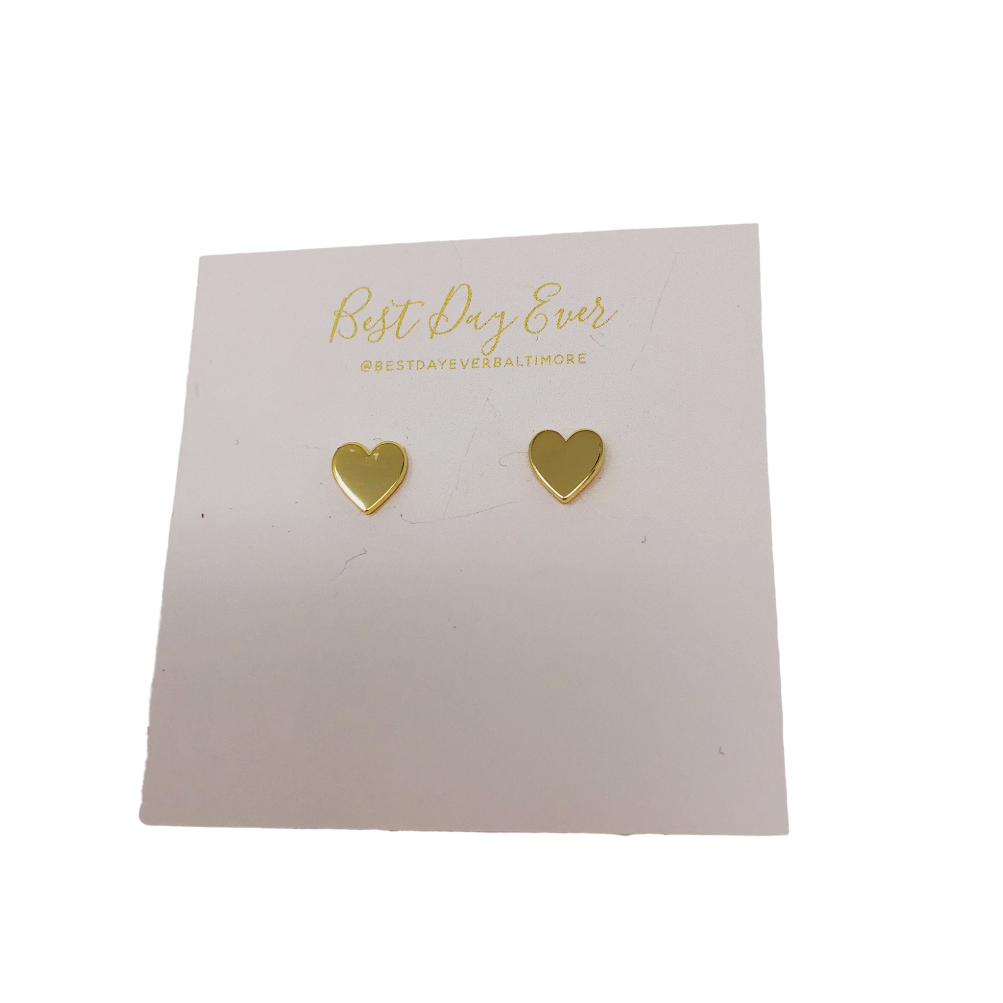 Golden Stella Heart Studs - Gold